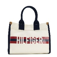 TOMMY HILFIGER 6929740-467MEDIUM TOTE HILFIGER STRIPE GRAPHIC NATURAL/NAVY/RED トミーヒルフィガー トートバッグユニセック...