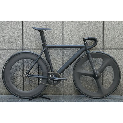 ピストバイク 完成車 LEADER BIKES 725TR FRONT 3SP REAR 88mm CARBON WHEEL CUSTOM BIKE BLACK リーダー バイク 725TR...
