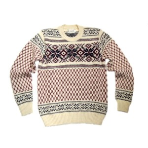 【期間限定30%OFF!】INVERALLAN(インバーアラン)/#113019 SHETLAND JACQUARD SNOW FLAKE CREWNECK SWEATER/cream