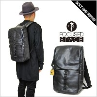 FOCUSED SPACE フォーカス スペース THE SYNERGY COMPOUND BACKPACK BAG BLACK バックパック バッグ リュックサック ブラック 黒 レザー...