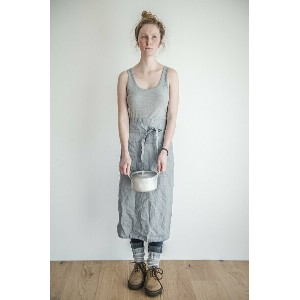 not PERFECT LINEN   GARCON LINEN APRON (washed silver)   エプロン