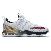 "Nike LeBron XIII 13 Low ""Olympic Gold Medal""メンズ White/University Red-Obsidian-Metallic Gold ナイキ..."