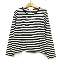 CUTE LOVE Tシャツ ロゴ ボーダー柄 長袖 カットソー 子供服 白黒 160 ※OA ☆★ その他 【ベクトル 古着】【中古】 160806