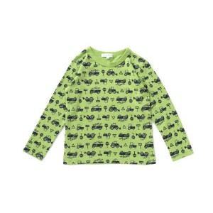 【3can4on(Kids) (サンカンシオン)】総プリント長袖Tシャツキッズ トップス|カットソー・Tシャツ ライトブルー