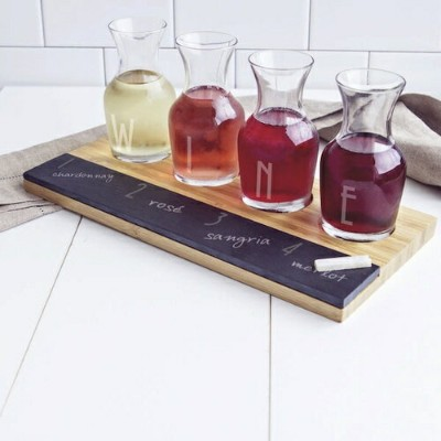 """CATHY'S CONCEPTS PERSONALIZED BAMBOO&SLATE WINE TASTING FLIGHT LETTERS """"WINE""""/ワインテイスティングやおうちパーティーでのワ..."""