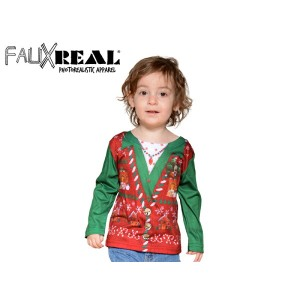 ☆Faux Real【フォーリアル】KIDS TODDLER UGLY CHRISTMAS VEST T-SHIRTS キッズ アグリークリスマス ベスト 長袖Tシャツ 14091 [クリスマス...