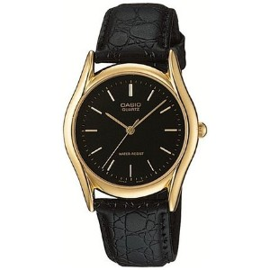 カシオ Casio Men's MTP1094Q-1A Black Leather Quartz Watch with Black Dial 男性 メンズ 腕時計 【並行輸入品】