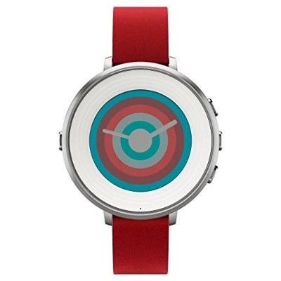 Pebble ぺブル 14 mm Time Round Smartwatch - Silver/White Face flame with Red Leather 極薄かつ超軽量の丸型スマートウォッチ...