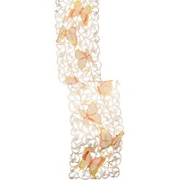 High Quality 8 by 62-Inch Splendid Mariposa Embroidered Cutwork Spring Table Runner, Mini