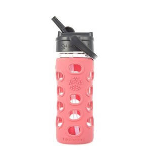 Lifefactory 12-Ounce Glass Bottle with Straw Cap and Silicone Sleeve, Coral [並行輸入品]