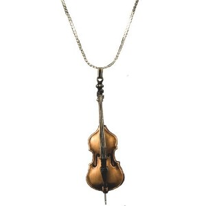 ストリングベース ブロンズ仕上げ ネックレス NECKLACE Italian Solo String Bass Scaled Replica Violin Corners Bronze Plate...