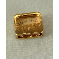 ウエストン VU メーターゴールド ピン PIN Weston A Scale Voltage Unit VU METER jewelry BROOCH GOLD 588