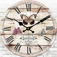 "LOVE(TM)12inch Wooden Clock Shabby Chic Retro Roman Numeral""Butterfly"" Pattern Wooden Wall Clock..."