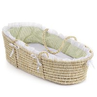 Badger Basket Natural Baby Moses Basket ベビー キャリー かご (グリーン)