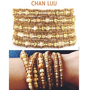 【正規品】CHAN LUUチャンルー Antique Bone Mix Wrap Bracelet on Henna Leather BGZ4356I [ジュエリー] CAHN LUUチャンルー