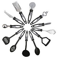 Kabalo 12 Piece Stainless Steel Kitchen Cooking Utensil Set with Nylon Handles