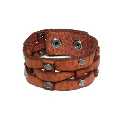 WILL LEATHER GOODS ウィルレザーグッズ RAILS CUFF LEATHER BRACE (TAN)
