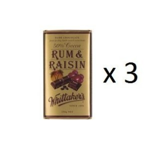 ウィッタカー Chocolate Block Rum & Raisin 250g 3EA [並行輸入品]