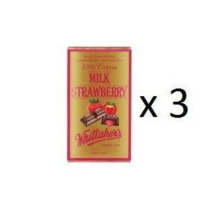 ウィッタカー Chocolate Block Milk Strawberry 250g 3EA [並行輸入品]