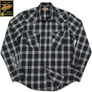 INDIAN MOTORCYCLE/インディアンモーターサイクル DOBBY OMBRE CHECK L/S WESTERN SHIRT ドビーオンブレーチェック 長袖ウェスタンシャツ BLACK...