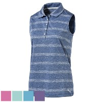 Puma Ladies Pounce Stripe Sleeveless Golf Polo Cresting【ゴルフ レディース>トップス】