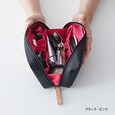 ithinkso DAY MAKE-UP POUCH スクエアデザインにたっぷり収納 (ブラック・ピンク)