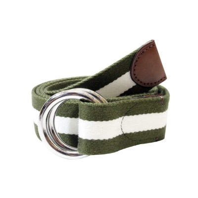 POLO RALPH LAUREN STRIPED WEBB O-RING BELT(405649455004: OLIVE/WHITE)ポロラルフローレン/ベルト