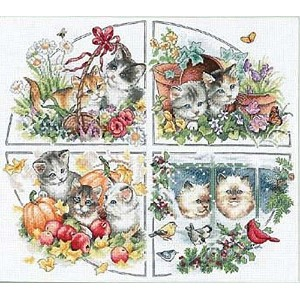 """Gold Collection Four Seasons Kittens Counted Cross Stitch Ki-15""""X13"""" 18 Count (並行輸入品)"""