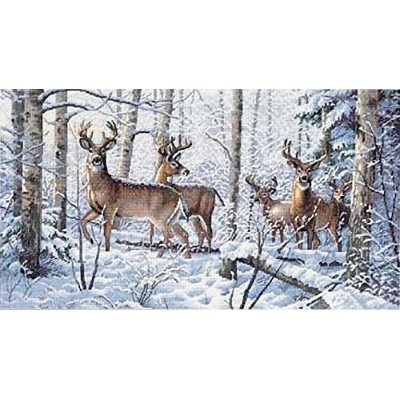 "Gold Collection Woodland Winter Counted Cross Stitch Kit-18""X10"" 18 Count (並行輸入品)"