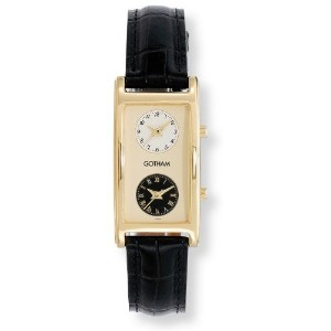 時計 Gotham ゴッサム Men's Gold-Tone Dual Time Zone Leather Strap Watch # GWC15077B メンズ 男性用 [並行輸入品]