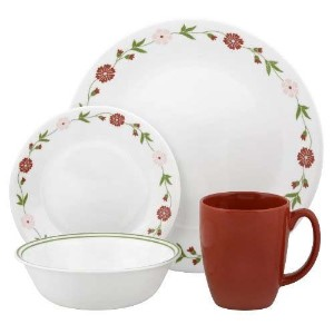 Corelle Contours 32-piece食器セット、春ピンク、サービスfor 8( 216-piece )セット