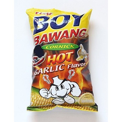 Hot Garlic Flavor Cornick (Corn Snacks) - Four 3.54 oz. bags. by Boy Bawang [並行輸入品]