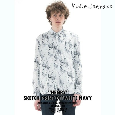 【NudieJeans ヌーディージーンズ HENRY ヘンリー SKETCH PRINT OFF WHITE NAVY 140448】