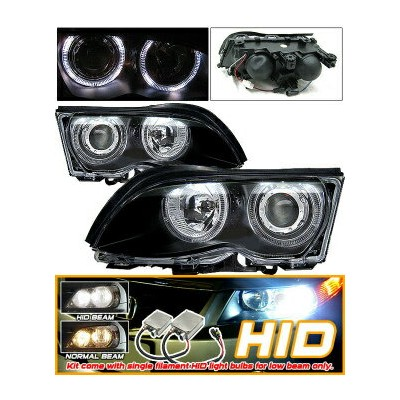 BMW 325i ヘッドライト Xenon 99-01 BMW E46 328I Black Halo Projector Headlight キセノン99-01 BMW E46 328Iブラックヘイ...