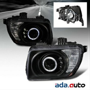 ホンダ エレメント ヘッドライト 2003-2008 Honda Element [LED Halo] Black Projector Headlights Left Right Set 2003...