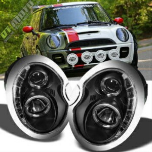 MINI ヘッドライト Black 2002-2006 Mini Cooper Projector Headlights w/DRL LED Daytime Running Lamps...
