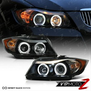 BMW ヘッドライト 2006 2007 2008 BMW E90 3-Series Sedan Black Angel Eye Projector Headlights PAIR 2006...
