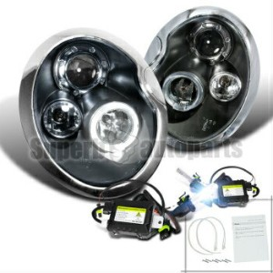 MINI ヘッドライト 2002-2005 Mini Cooper LED Halo Projector Headlights Black+H1 Slim HID Kit 2002...