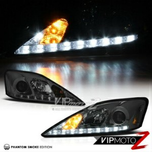 レクサス ヘッドライト 06-13 Lexus IS250 IS350 Smoke DRL Light Bar Projector Headlights Left Right Pair...