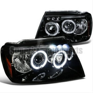 クライスラー Jeep ヘッドライト 1999-2004 Jeep Grand Cherokee Halo Projector Led Headlights Glossy Black SpecD...