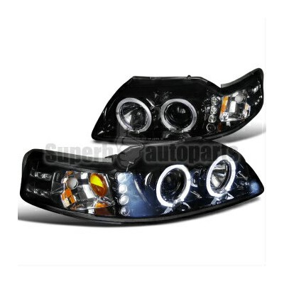 フォード マスタング ヘッドライト 1999-2004 Ford Mustang LED Halo Projector Headlights Glossy Black SpecD Tuning...