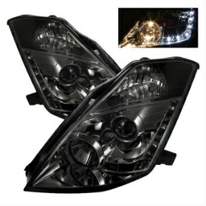 日産 フェアレディー Z ヘッドライト Fit Nissan 03-05 350Z Smoke DRL LED Projector Headlights Lamp FairLady 日産03-05...