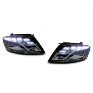 アウディ ヘッドライト DEPO 09 10 11 12 Audi Q5 Black Projector White LED Strip Headlight Left + Right DEPO 09...