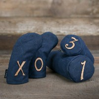 Seamus Golf Navy Waxed Canvas Headcover Set【ゴルフ アクセサリー>ヘッドカバー】