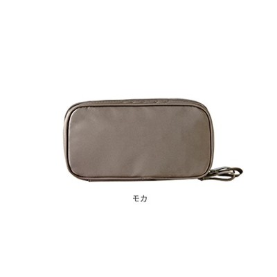 ithinkso DOUBLE ZIP MAKE UP POUCH ブラシが収納できるポーチ (モカ)