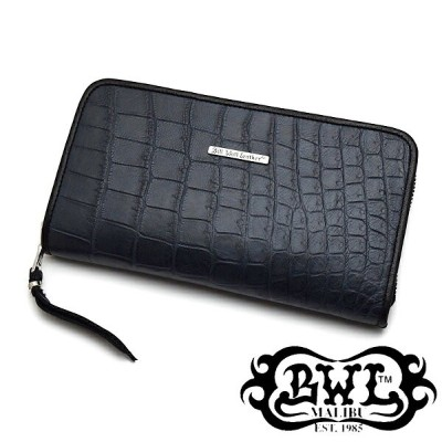 【BWL/Bill Wall Leather/ビルウォールレザー】ウォレット:W949:Zipper /Matt Black Alligator (Yen) (Wallet Hole=無し)...