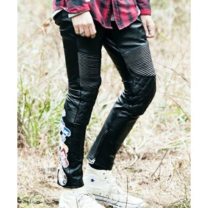 【SEVESKIG(セヴシグ)】PT-SV-NA-1001-STICKERS LEATHER PANTS パンツ