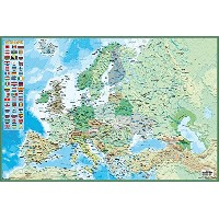 Political Map of Europe Poster, with Country Flags (91,5cm x 61cm)