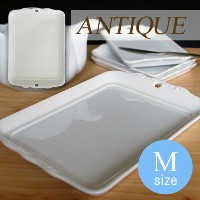【SUPER OUTLET】【Mサイズ】アンティーク トレー【日本製 磁器】【白い食器 透かし皿 パン皿 ポーセリンアート 陶絵付け チョコ プレート】