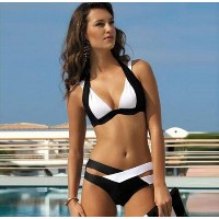 Black And White Split Sexy Biquini 2017 Bikini Push Up Large Women Swimwear Brazilian Bikini Plus...